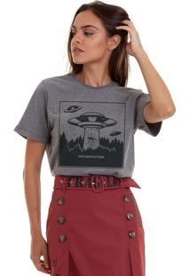 Camiseta Basica Joss Ufo Abduction Chumbo