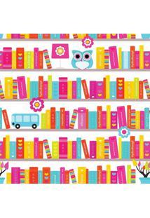 Papel De Parede De Livros- Pink & Amarelo- 300X0,58Cjmi Decor