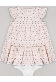 Vestido Infantil Estampado De Arabescos Manga Curta + Calcinha Rosa Claro
