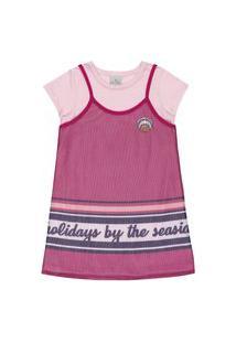 Vestido Com Sobreposição Lecimar Kids Em Meia Malha Alto Verão Rosa Escuro