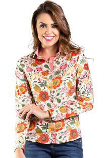 Camisa Feminina Slim Florida Floral Carlos Brusman