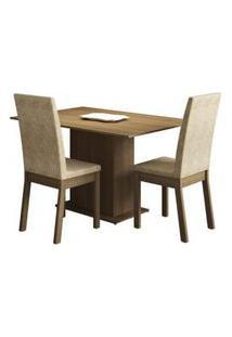 Conjunto Sala De Jantar Madesa Dai Mesa Tampo De Madeira Com 2 Cadeiras Rustic/Imperial Rustic