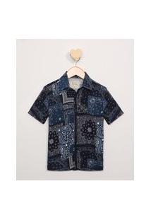 Camisa Infantil Estampada Paisley Manga Curta Azul Marinho