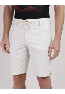 Bermuda De Sarja Masculina Com Bolsos E Cordão Off White