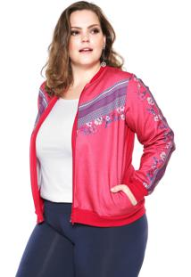Jaqueta Bomber Wee! Estampada Plus Size Rosa