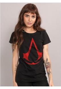 Camiseta Feminina Assassin'S Creed Logo - Feminino-Preto