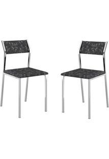 Conjunto 2 Cadeiras Tubo Cromado Tecil Preto Carraro