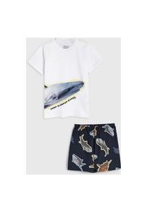 Pijama Elian Curto Infantil Baleia Branco/Preto