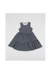 Vestido Infantil Listrado Com Recortes Azul Marinho