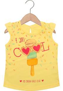 Camiseta Kamylus Sorvete Manga Curta Menina Amarela