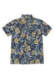 Camisa Manga Curta Estampada Quimby Azul