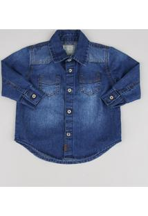 Camisa Jeans Infantil Com Bolsos Manga Longa Azul Escuro