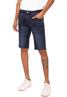 Bermuda Jeans Rock&Soda Reta Estonada Azul-Marinho