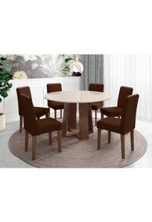 Conjunto De Mesa De Jantar Com Tampo De Vidro Isabela E 6 Cadeiras Amanda I Veludo Off White E Preto