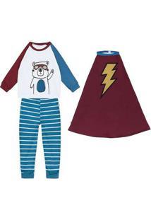Pijama Infantil Menino Malha Super Raio Branco