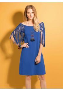 Vestido Com Vazado E Franjas Azul Royal