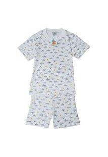Pijama Infantil Masculino Babié Manga Curta Barquinho Branco