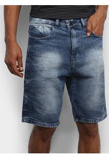 Bermuda Jeans Tbt Jeans Estonada Masculina - Masculino-Azul