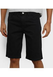Bermuda Jeans Preston Estonada Masculina - Masculino-Preto