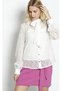 Camisa Em Renda Com Amarração - Brancalança Perfume 02038eab6c