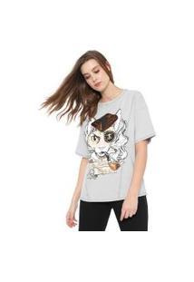 Camiseta My Favorite Thing(S) Oversize Estampada Cinza