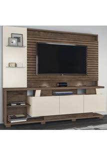 Estante Para Tv Até 65 Polegadas Dallas 3 Portas Flex Natura Off White/3D Mocaccino Rústico - Atualle Móveis