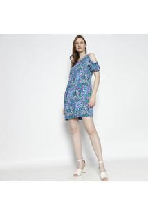 Vestido Floral Ombros Vazados - Azul & Verdemoiselle