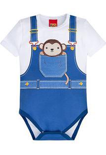 Body Infantil Kyly Cotton Macaquinho Bebê - Masculino-Branco