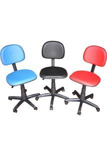 Cadeira Secretária Giratória Cs-02 Em Couro Ecológico Azul Ce151 Pethiflex
