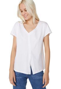 Amaro Feminino T-Shirt Decote V Ampla, Branco