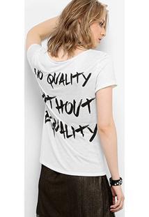Camiseta Drezzup Botonê Equality Feminina - Feminino-Off White