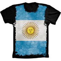 f320d5ed59 Camiseta Baby Look Manga Curta Lu Geek Flag Argentina Preto