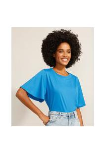 Camiseta Básica Manga Curta Ampla Decote Redondo Azul