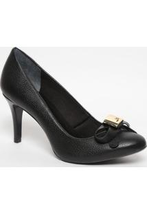 Sapato Em Couro Com Laço- Preto- Salto: 7,5Cmjorge Bischoff