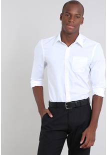 Camisa Masculina Comfort Com Bolso Manga Longa Branca