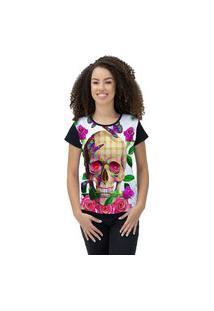Camiseta Ramavi Feminina Skull Roses Preto Preto Gg