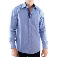 491abd425 Camisa Zimpool Social Slim Fit Manga Longa Azul