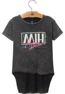 Camiseta John John Kids Mih Malha Cinza Feminina (Cinza Medio, 14)