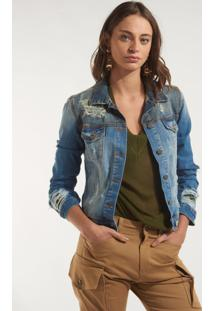 Jaqueta Rosa Chá Megan Jeans Azul Feminina (Jeans Medio, 35)