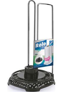 Porta Papel Toalha Em Aço Rattan Cromado E Preto
