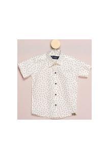 Camisa Social Mc Infantil Algodão Estampa Setinhas Casual Off White 8 Off-White
