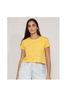 Camiseta Feminina Básica Manga Curta Cropped Com Bolso Decote Redondo Amarela