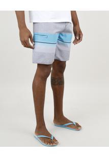 Bermuda Surf Masculina Com Listras E Degradê Cinza Mescla