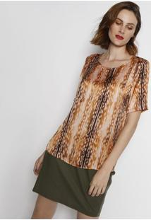 Camiseta Acetinada Animal Print - Laranja Escuro & Marrosimple Life