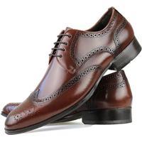 129f94f56 Sapato Social Florense Oxford Classico Couro Masculino - Masculino-Caramelo