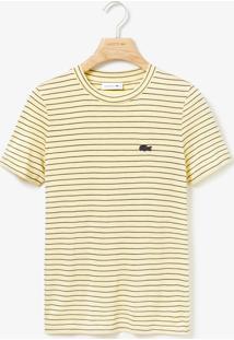 Camiseta Lacoste Listrada Amarela - Amarelo - Feminino - Dafiti