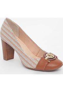 Sapato Em Couro Com Aviamento- Marrom & Branco- Saltjorge Bischoff