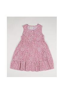Vestido Infantil Estampado De Poá Com Botões E BabadoRosa