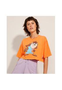 Camiseta Cropped Space Jam Taz Manga Curta Decote Redondo Laranja