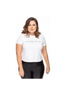 Camiseta Linny Plus Size Manga Curta Proud Branca